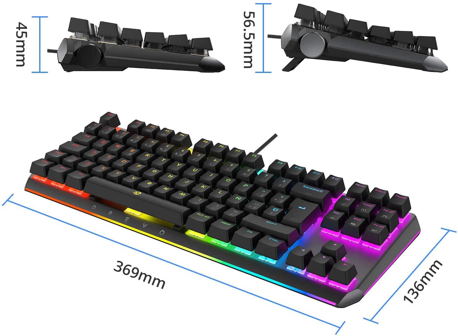 DREVO BladeMaster TE Teclado Mecánico Gaming Radi RGB Retroiluminado, USB con Cable, Genius Knob Programable-88K
